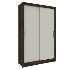Guarda-roupa Solteiro Zurique Cumaru Rustic/Off White com Espelho 2 Portas 2 Gavetas - Tcil Móveis