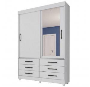 Guarda-roupa 02 Portas Chicago Branco/Branco com Espelho com 06  Pés - Tcil Móveis