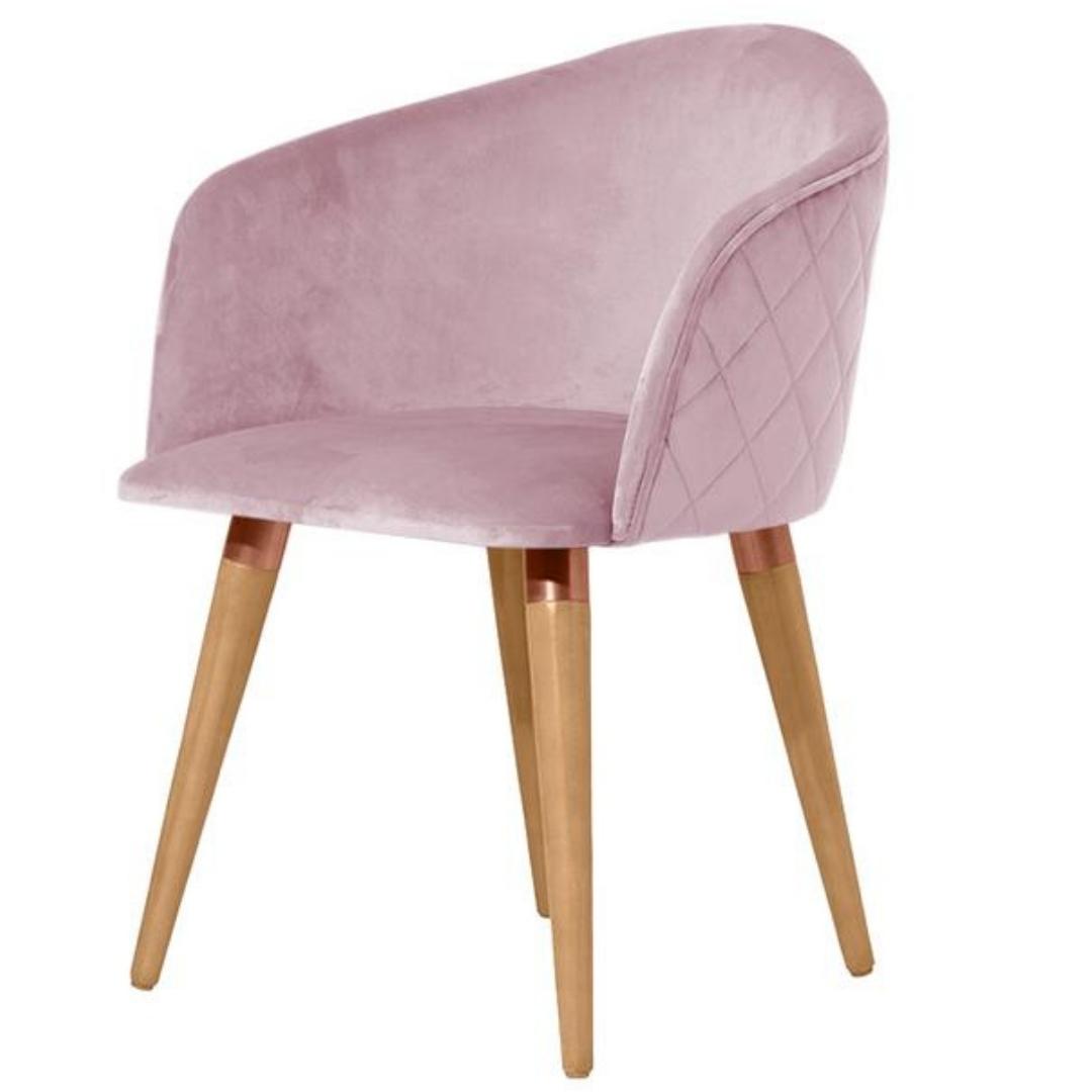 Cadeira Kari Giratória Madeira Natural Veludo Rosa com detalhes Cobre - Província