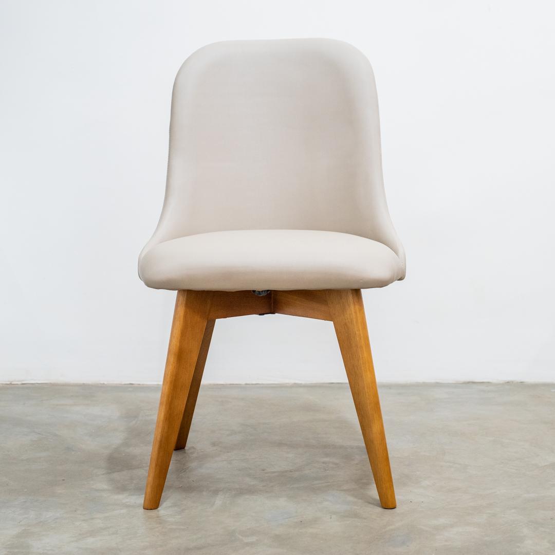 Cadeira Torino Base Fixa Madeira na cor Amêndoa TEC-482 - Heitor