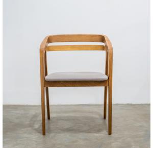 Cadeira Joaquim Assento Estofado Natural Nogueira TEC 826 - Moora