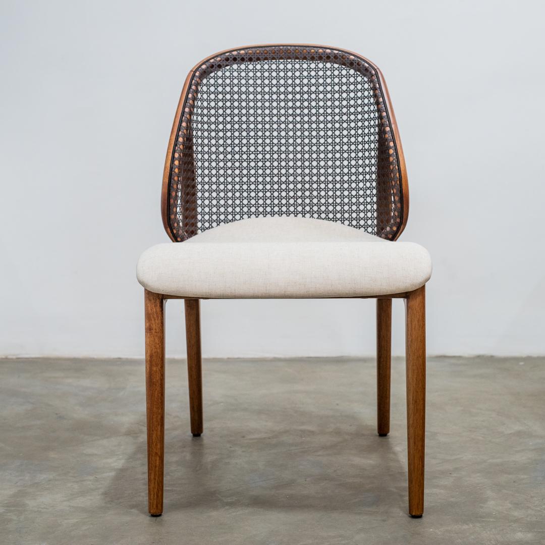 Cadeira Naiá Sem Braço Estrutura Tingimento Freijó Palha 02 Noq Tec 179 - Mobilier