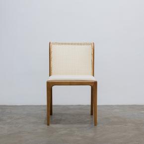 Cadeira de jantar Eloá encosto em palha natural madeira na cor damasco - Sier Móveis