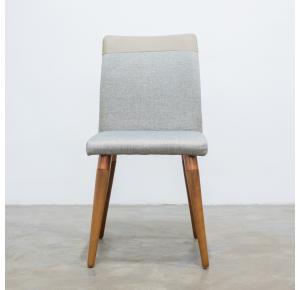 Cadeira Becca Linho c/ PU - Moka - Cobre - Natural- Província