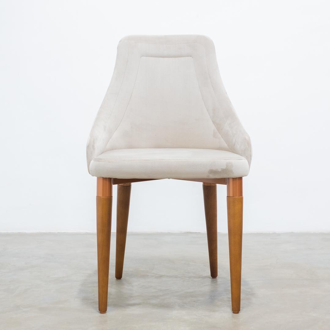 Cadeira Evelyn Veludo Inca 02 - Fendi - Cobre - Natural  - Província