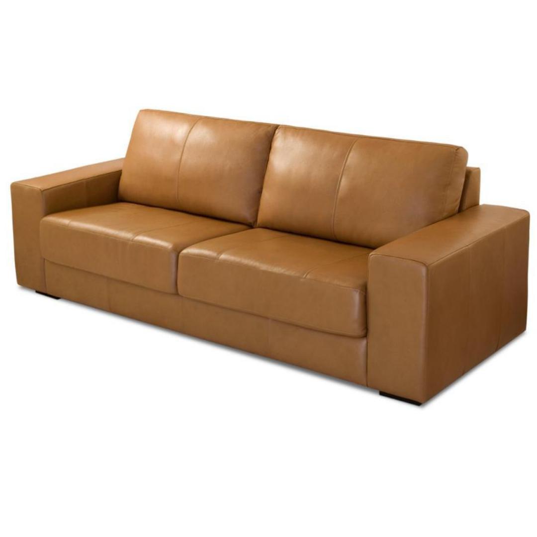 Sofá Como 250cm Caramelo - Couro Legítimo 100% Natural - Arte Couro