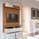 Painel para Home TV City 120 cm - Natural c/ Off White Brilho - Província