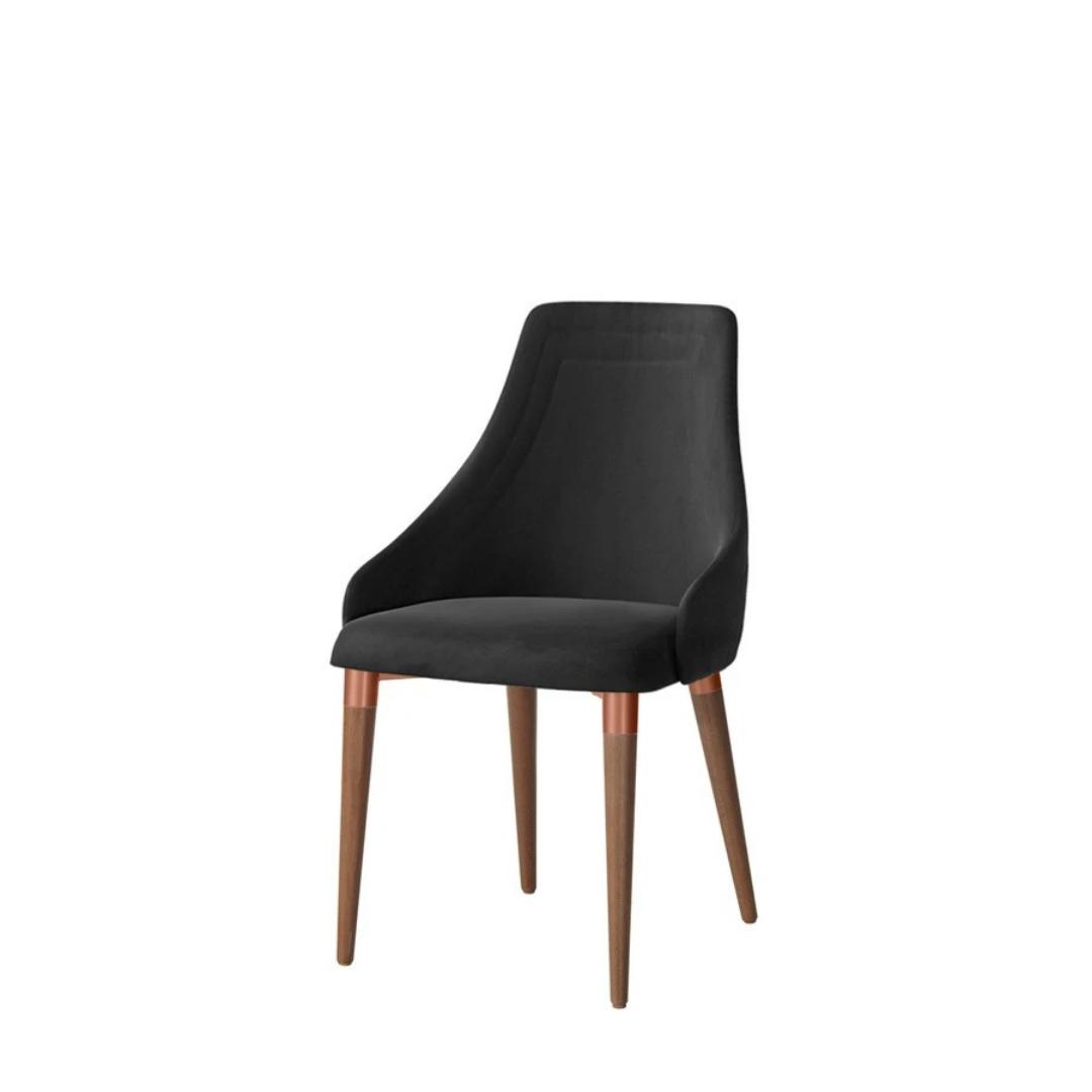 Cadeira Evelyn Veludo Inca 13 - Preto - Cobre - Natural - Província