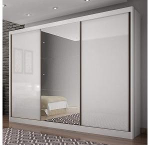 Guarda-roupa Spazzio 3 portas 8 gavetas Branco - Novo Horizonte