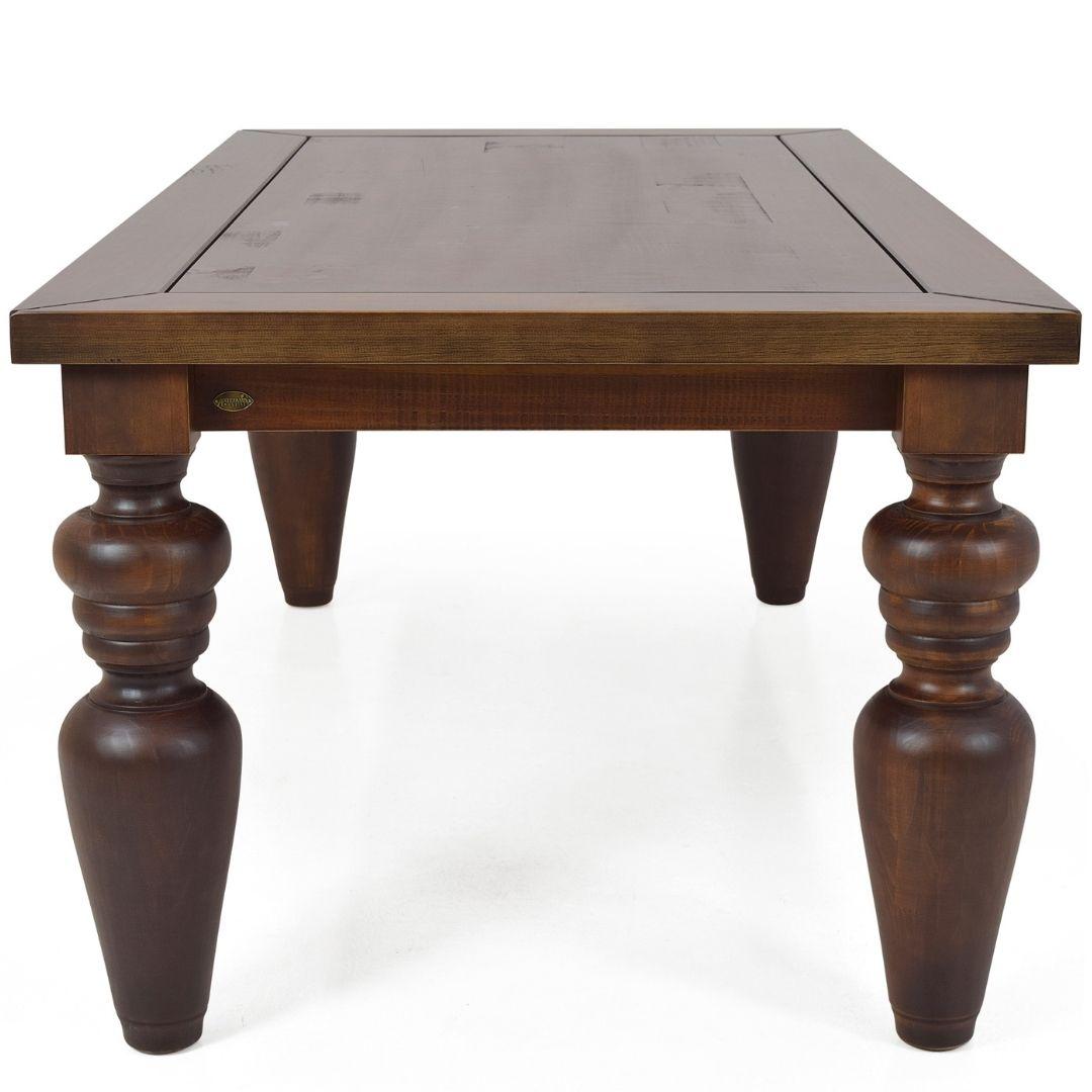 Mesa de jantar rústica Flower 240cmx110cm pés torneados Canela - Arte Fama