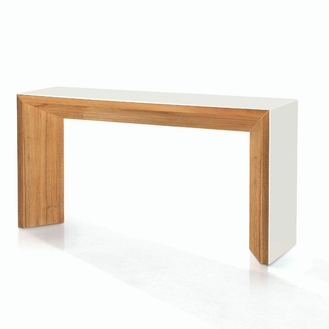 Aparador Lugo 150 cm - madeira noce com vidro laca new white - Pollus Móveis