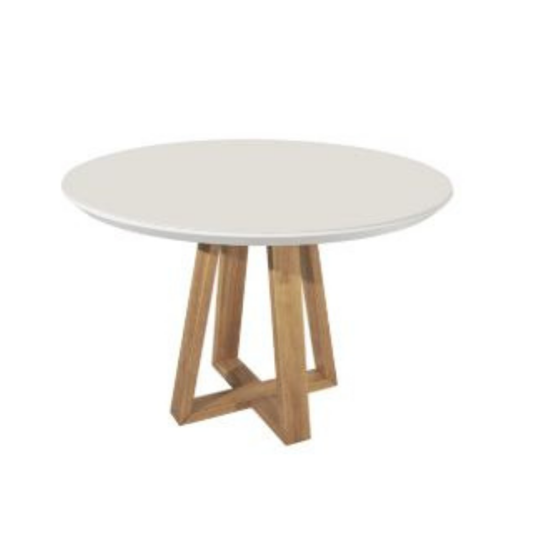 Mesa de jantar Bennet redonda 04lug diâmetro 115 cm - Natural c/ vidro off white - Província