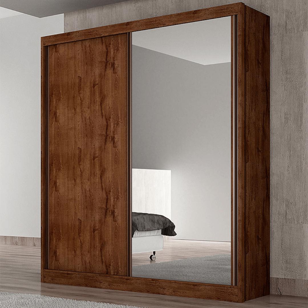 Guarda-roupa Virtus canela com espelho 02pts 03gav c/pés - Novo Horizonte