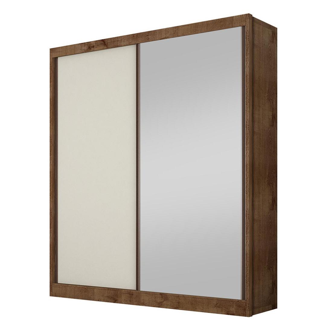Guarda-roupa Virtus canela/off white com espelho 02pts 03gav c/pés - Novo Horizonte