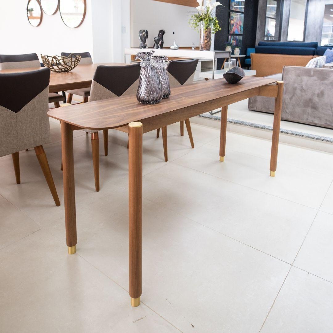 Aparador Ayla 180cmX50cm - madeira nogueira com detalhes dourado - Móveis Gottems