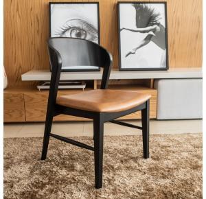 Cadeira Lia laminada ebanizada com assento caramelo - Pollus
