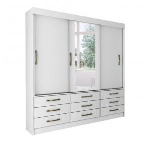 Guarda-roupa 03 Portas Chicago Branco com Espelho com 08  Pés - Tcil Móveis