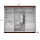 Guarda-roupa Everest Canela/Off White 6 portas 8 gavetas com Espelho com 8 Pés - NOVO HORIZONTE