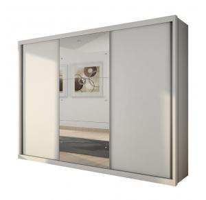 Guarda-roupa Casal Paradizzo com espelho 03 portas Branco- Novo Horizonte