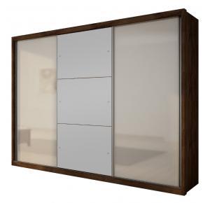 Guarda-roupa Casal Paradizzo com espelho 03 portas Canela com Off White - Novo Horizonte