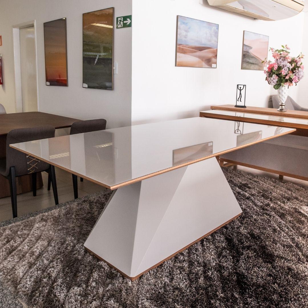 Mesa de Jantar Diamond  Laca Off White 180cmX100cm - Sier Móveis