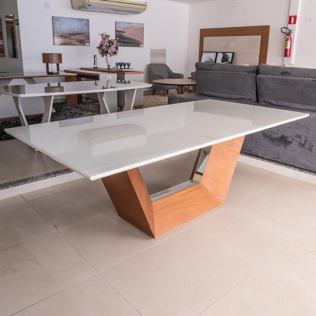 Mesa Jantar Vicenza 1,80 Tampo de Vidro 25MM Noce Laca New White Com Espelho