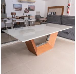 Mesa Jantar Vicenza Tampo de Vidro 2,2 Noce Laca New White Com Espelho