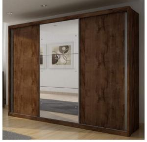 Guarda-roupa Casal Paradizzo com espelho 03 portas Canela - Novo Horizonte