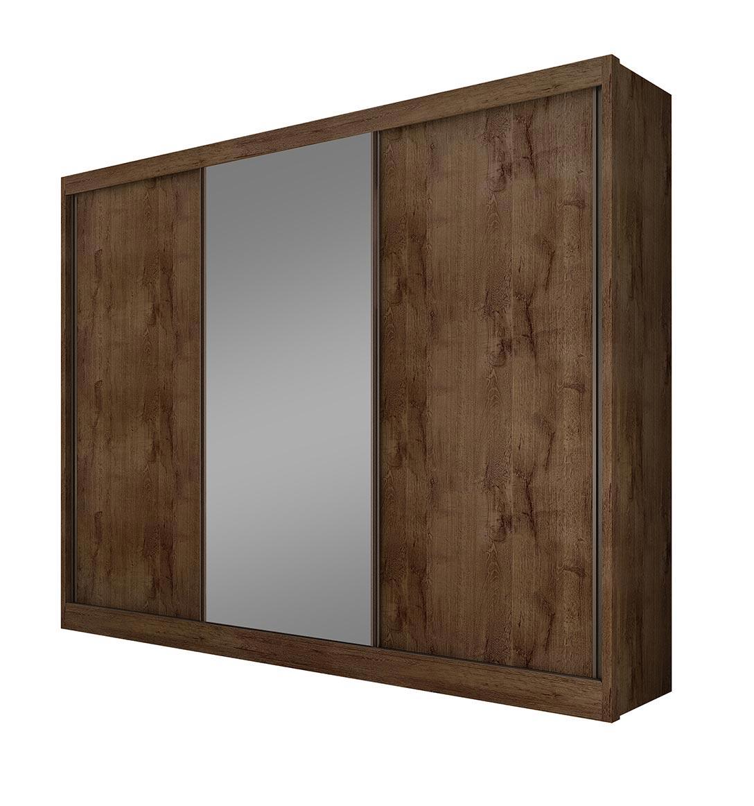 Guarda-roupa Diamond com espelho, de 3 portas - Canela