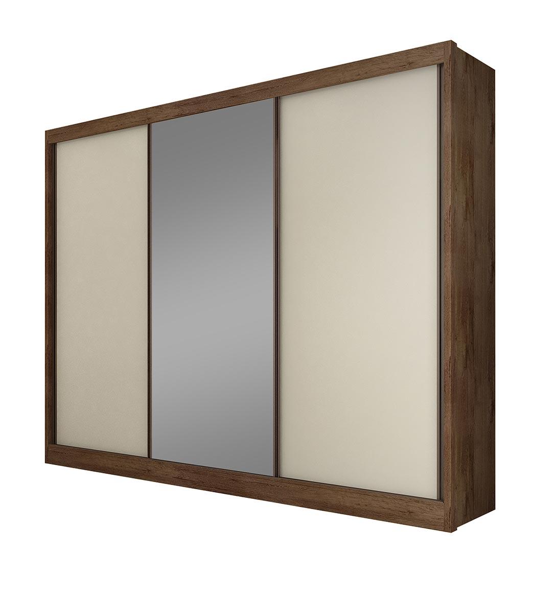 Guarda-roupa Diamond com espelho, de 3 portas - Canela e laca off white