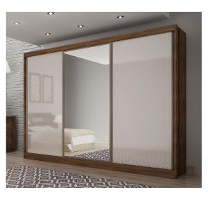 Guarda-roupa Spazzio 3 portas 8 gavetas Canela com Off White - Novo Horizonte