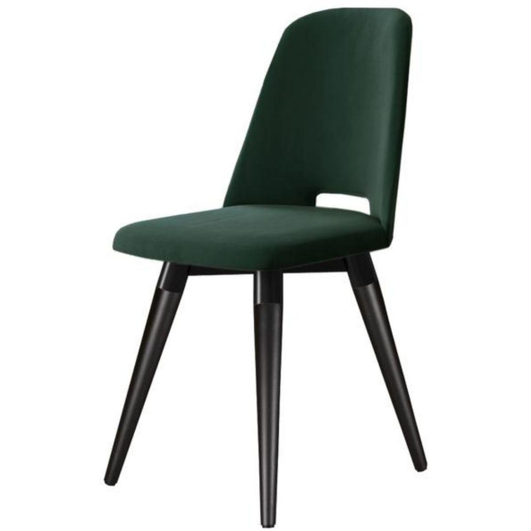 Cadeira Selina Giratória Veludo Verde Tecido V Inca 11 Preto Fosco - Província