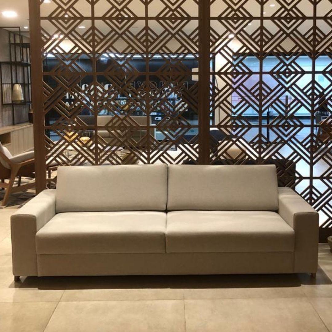 Sofá Wood 240cm com estrutura em metal - Líder Interiores