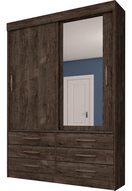 Guarda-roupa 02 Portas Chicago Cumaru Rustic com Espelho com 06  Pés - Tcil Móveis