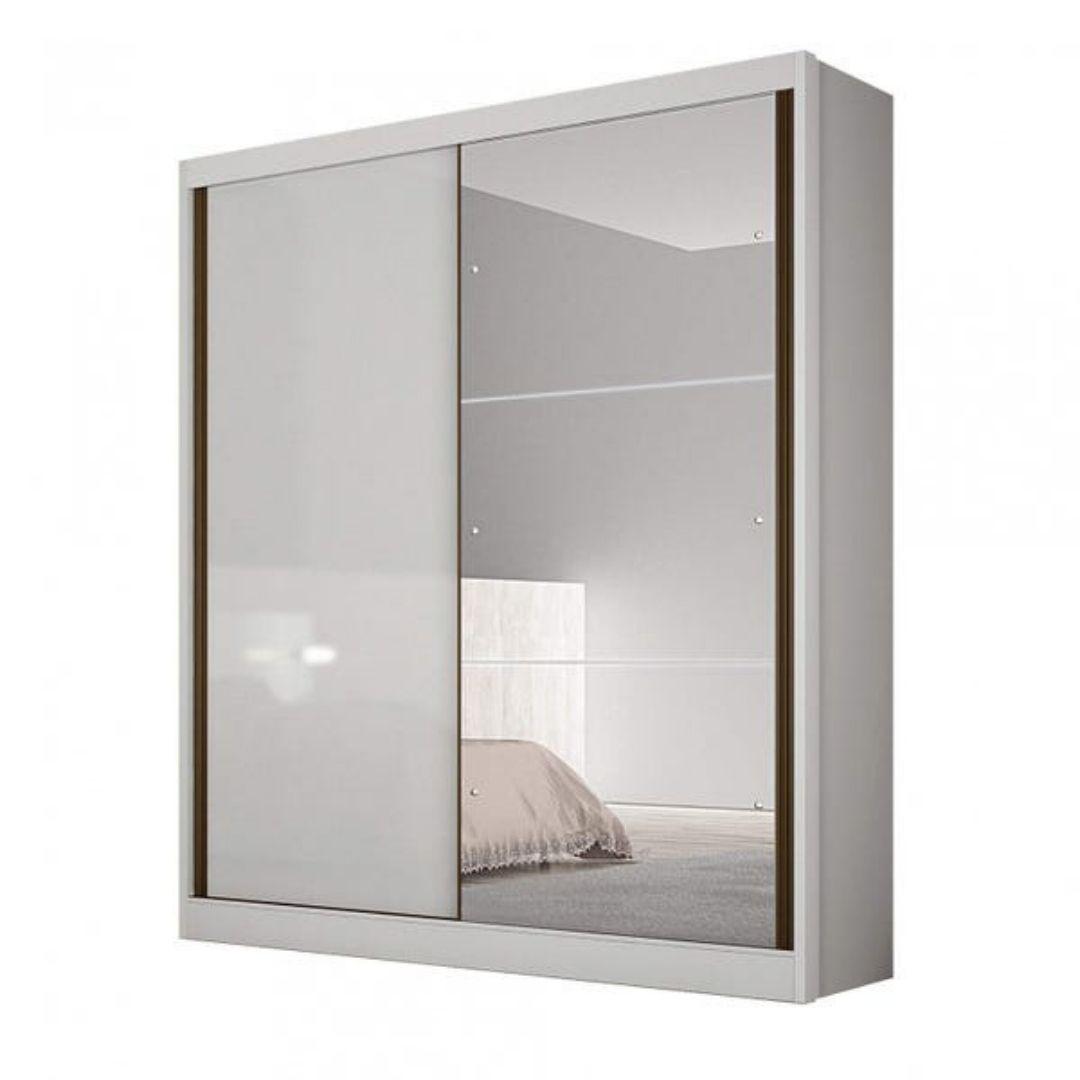Guarda-roupa Virtus branco com espelho 02pts 03gav c/pés - Novo Horizonte